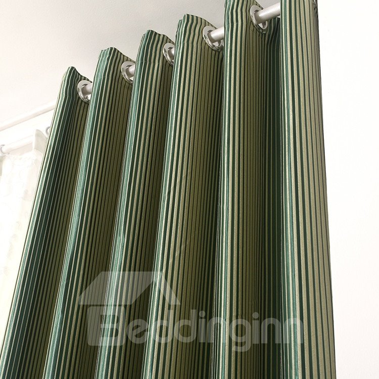 Amazing High-end Green Stripes Grommet Top Two-panel Custom Curtains