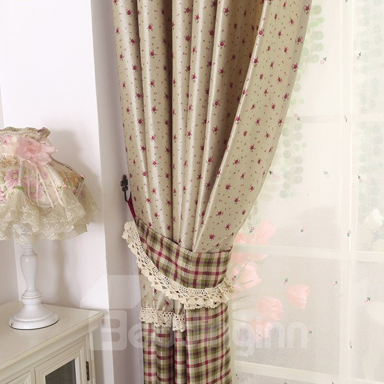 Amazing Pastoral Style Beautiful Flowers Grommet Top Two-piece Custom Curtains