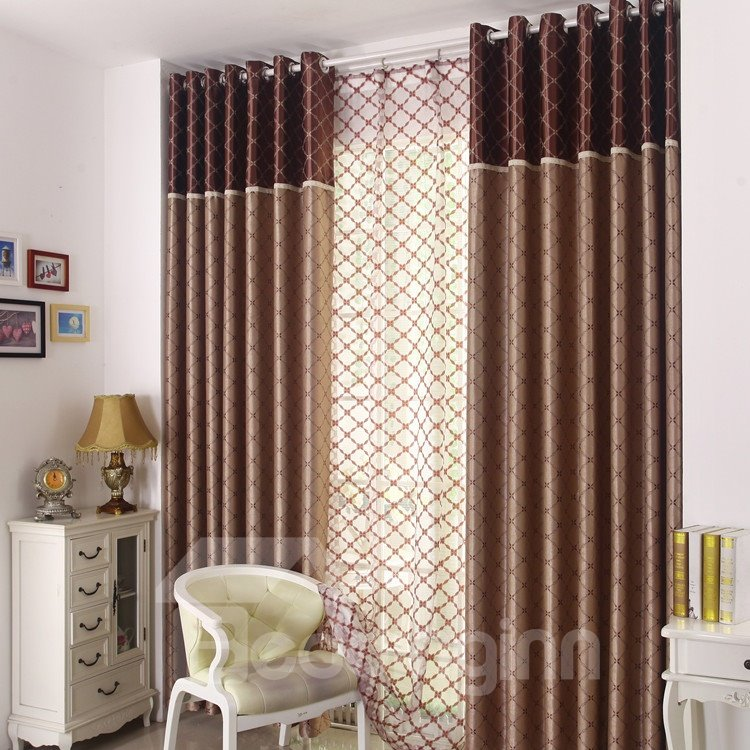 Retro Style Charming Pattern Grommet Top Two-piece Custom Curtains