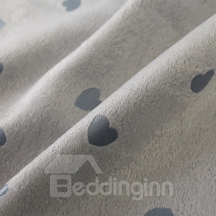 Heart-Shaped Printing Grommet Top Two Pieces Custom Curtain