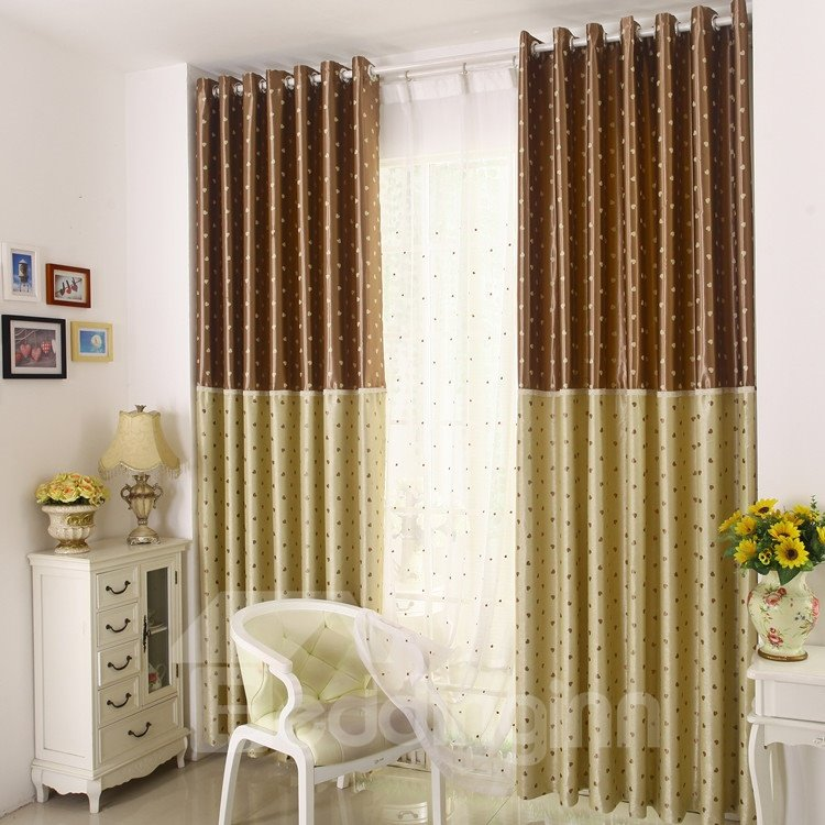 Amazing Heart-shaped Patterns Grommet Top Two-piece Custom Curtains