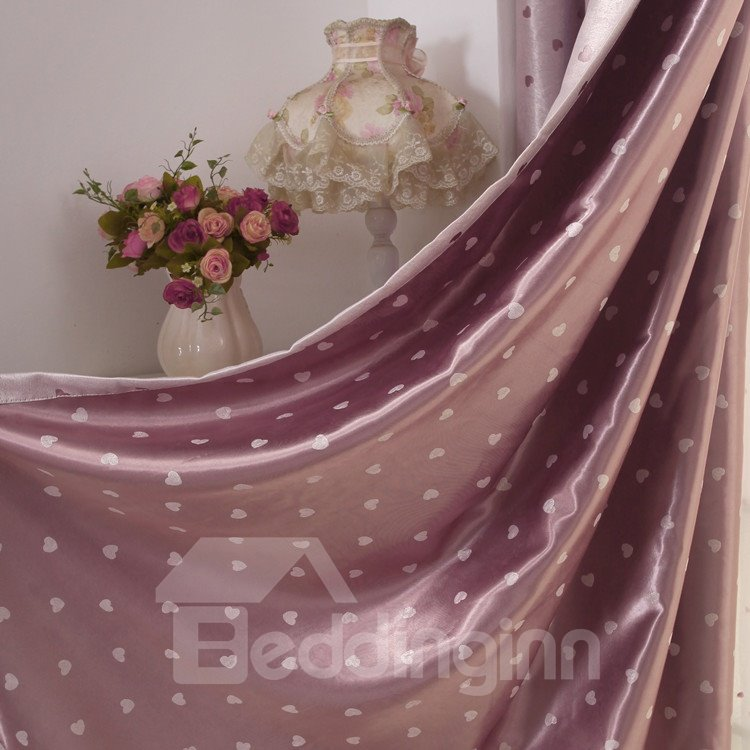 Amazing Style Heart-shaped Patterns Grommet Top Two-piece Custom Curtains