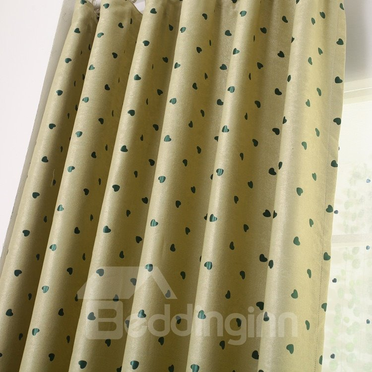 High Qulity Heart-shaped Patterns Grommet Top Two-piece Custom Curtains