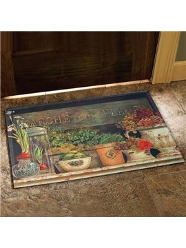 Elegant Country Style Flower Vase Prints Doormat