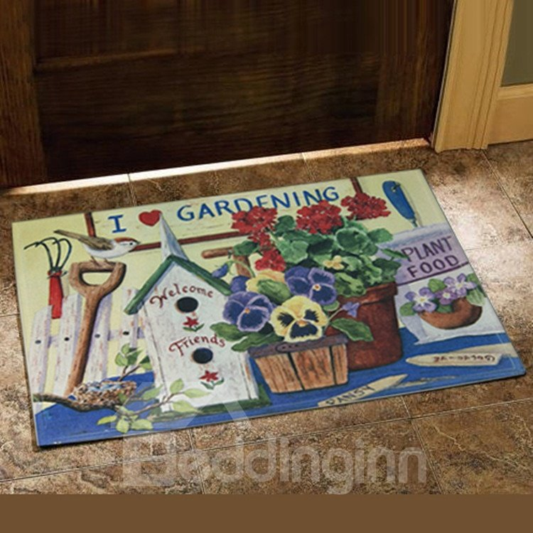 European Style Gorgeous Flower Vase Design Doormat