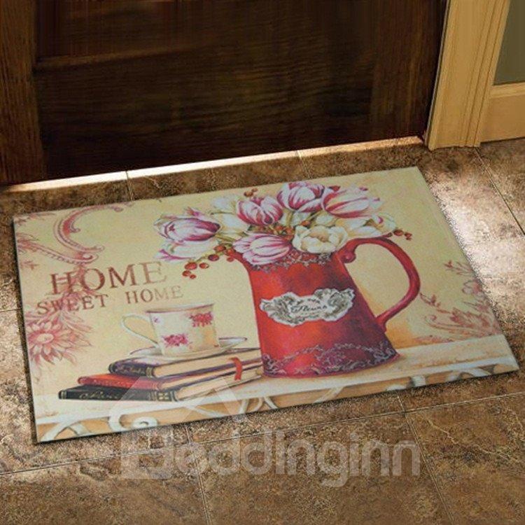 European Style Fancy Flower Vase and Books Print Doormat