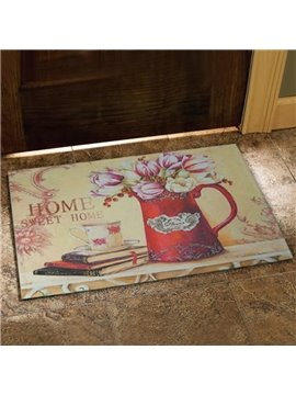 European Style Fancy Flower Vase and Books Print Doormat