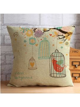 Bird in Cage and Fancy Trees Throw Pillow