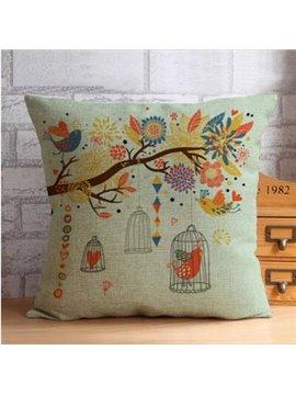 Vivid Bird and Colorful Trees Print Throw Pillow