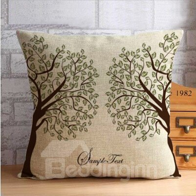 Two Vivid Trees with Gree Leaves Throw Pillow