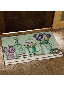 Country Style Beautiful Flower Vases and Book Print Doormat