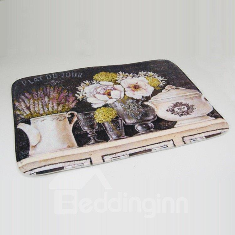 High-end Country Style Elegant Flower Vases Print Water Absorption Bath Rug
