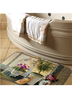 Country Style Fancy Flower Vases Print Water Absorption Bath Rug