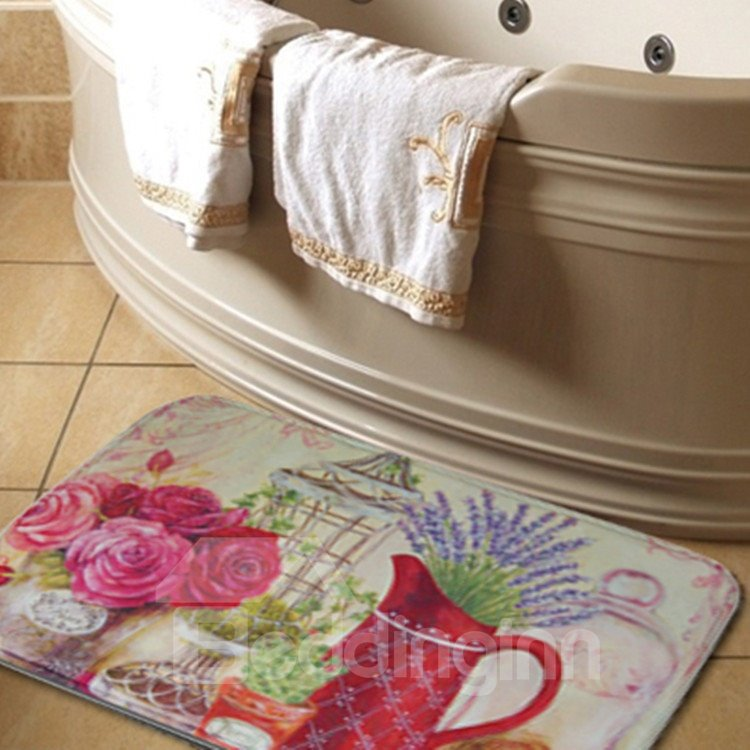 New Arrival Fantastic Flower Vases Print Water Absorption Bath Rug