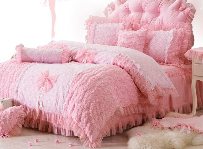 Bowknot and Flower Pattern Pink Cotton and Lace 4-Piece Duvet Covers/Bedding Sets