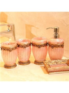 European Style Resin Five Pieces Bathroom Accessories