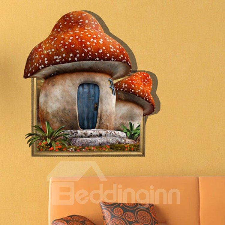 Pretty Creative 3D Mushroom House Wall Sticker