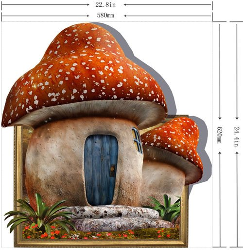 Pretty Creative 3D Mushroom House Wall Sticker