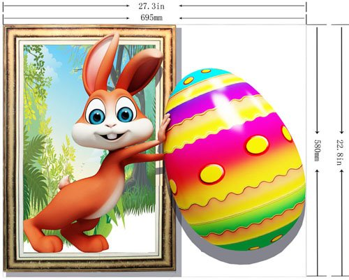 Amazing Creative 3D Rabbit Pushing an Egg Design Wall Sticker