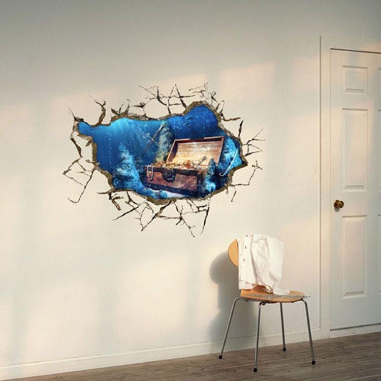 Amazing Creative 3D Treasure Lake Design Wall Sticker