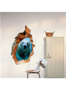 Elegant Creative 3D Polar Bear Hole Design Wall Sticker