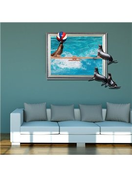 Fancy Creative 3D Seals Playing the Ball Design Wall Sticker