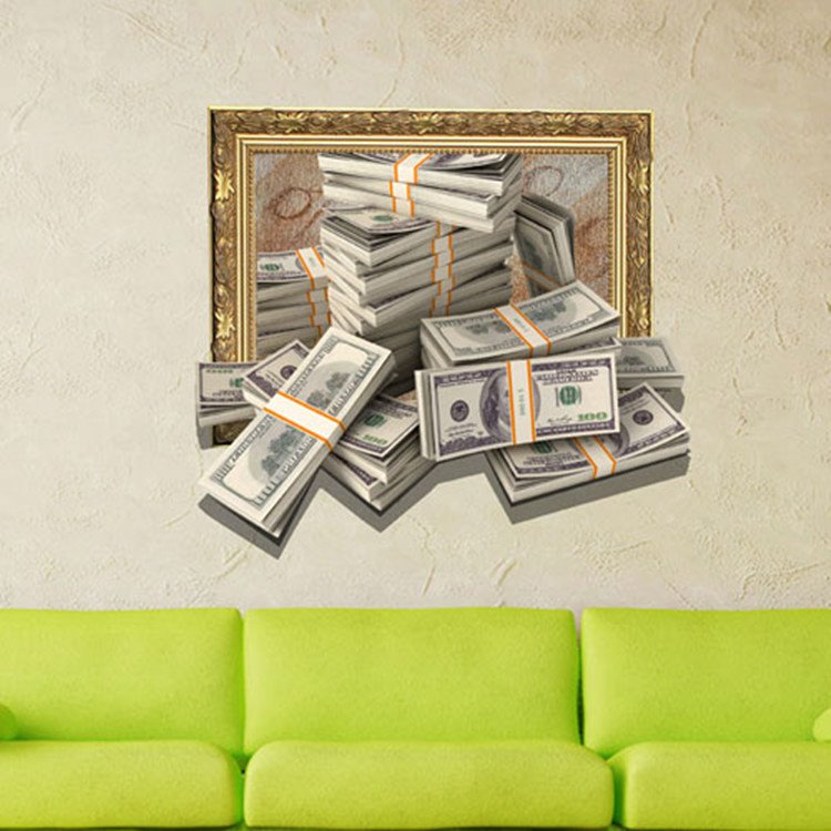 Fancy Creative 3D Money Design Wall Sticker