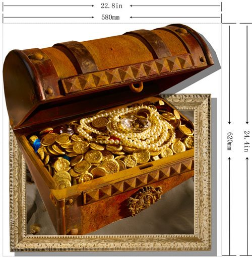 Gorgeous Creative 3D Box of Treasure Wall Sticker