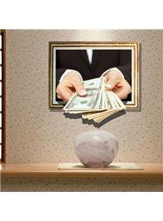 Gorgeous Creative Dollar in Hand Design 3D Wall Sticker