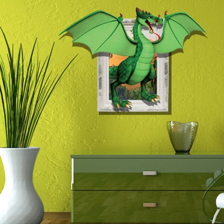 Super Cute Creative 3D Herbivorous Dinosaur Wall Sticker