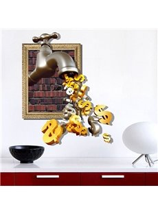 Creative Doller Dollar Drop From Faucet Pattern 3D Wall Stickers