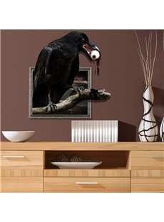 Stunning Creative 3D Crow with a Eyeball in its Mouth Design Wall Sticker