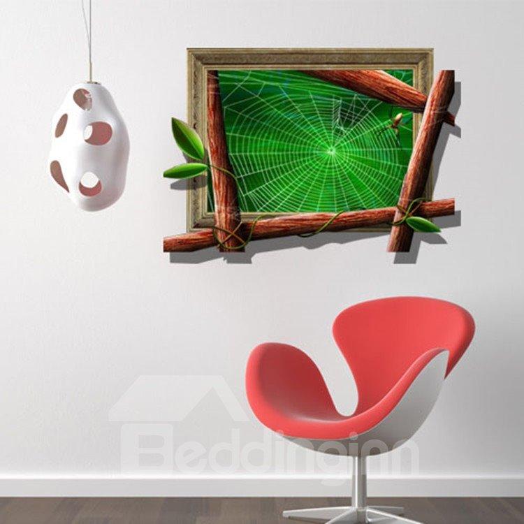 Stunning Creative 3D Spider Web Design Wall Sticker