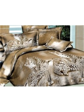 Leopards Lying on Land Print 4-Piece Polyester 3D Duvet Cover Sets