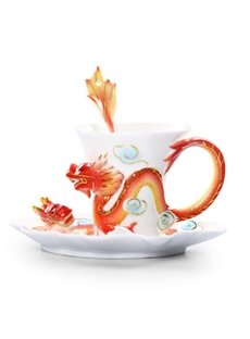 Fancy Creative Dragon Ceramic Enamel Coffee Cup Sets