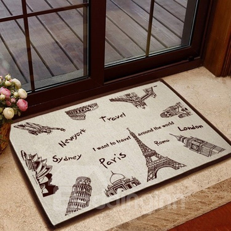 New Arrival European Buildings Pattern Non-slip Doormat