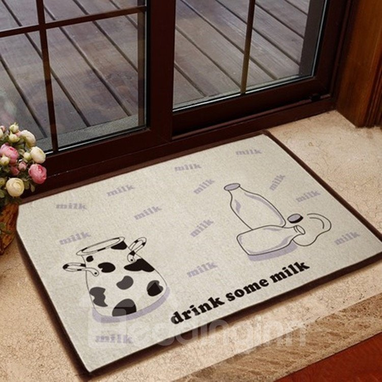 Simple Style Milk Bottle Pattern Non-slip Doormat
