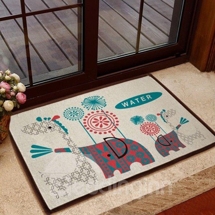 Elegant Cartoon Elephant and Giraffe Patterns Non-slip Doormat