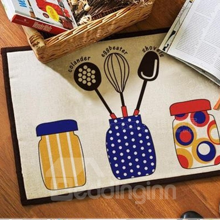 Fancy Simple Colorful Three Jars Pattern Doormat
