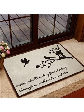 Elegant Birds and Letters Pattern Non-slip Doormat