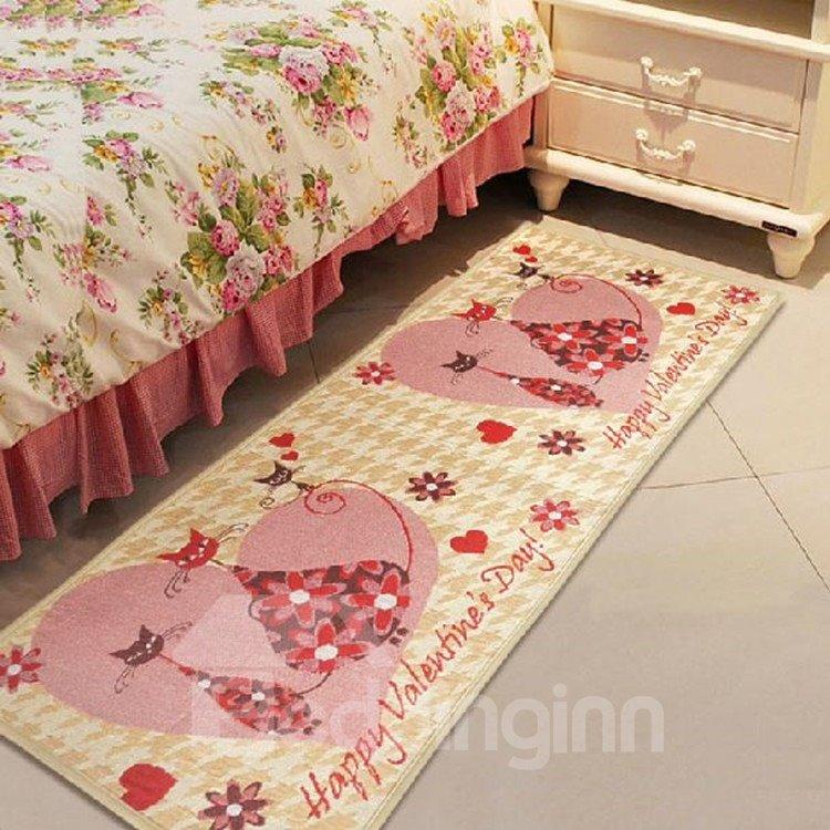Romantic Love Cats Pattern Non-slip Area Rug