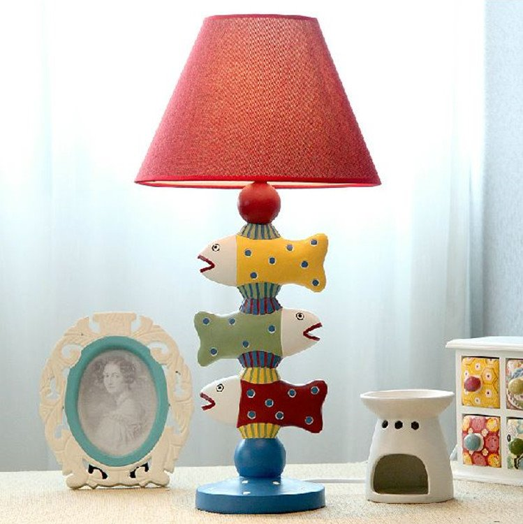 Amazing Mediterranean Style Creative Three Fish Design Table Lamp