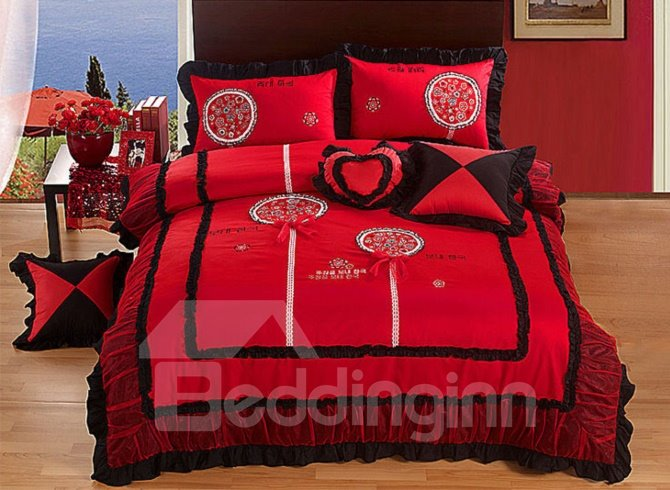 Red Flower Embroidery 4-Piece Cotton Cinderella Princess Duvet Cover Sets