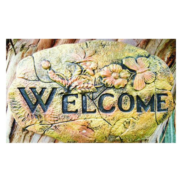 Charming Welcome Printed on the Stone Pattern Non-slip Doormat