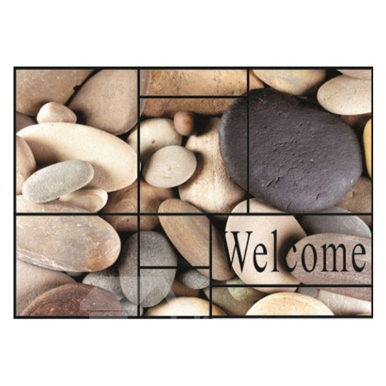 Amazing Welcome and Cobblestones Pattern Non-slip Flocking Doormat