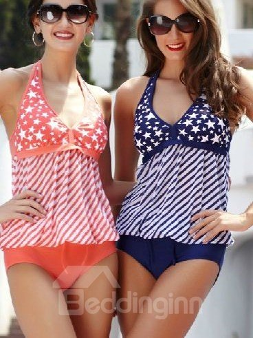 Quality Fancy Shiny Star Print Halter Swimsuit