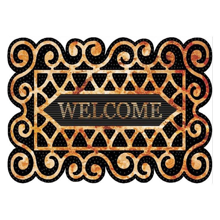Retro Elegant Welcome Design Non-slip Flocking Doormat