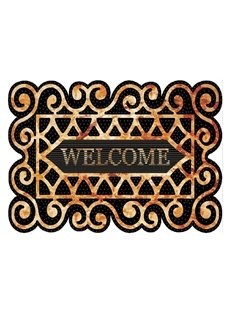 Retro Elegant Welcome Design Non-slip Flocking Doormat