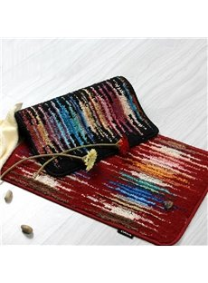 Amazing Pretty Colorful Strips Patterns Suede Indoor Mat