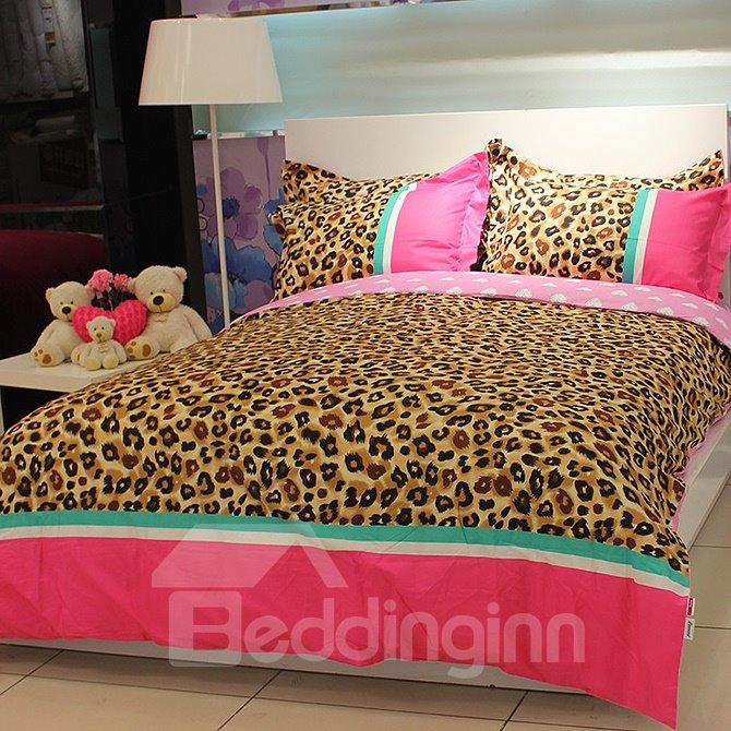 Wild Honey Leopard and Heart Print 4-Piece Cotton Duvet Cover Sets